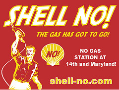 Shell no protest sign