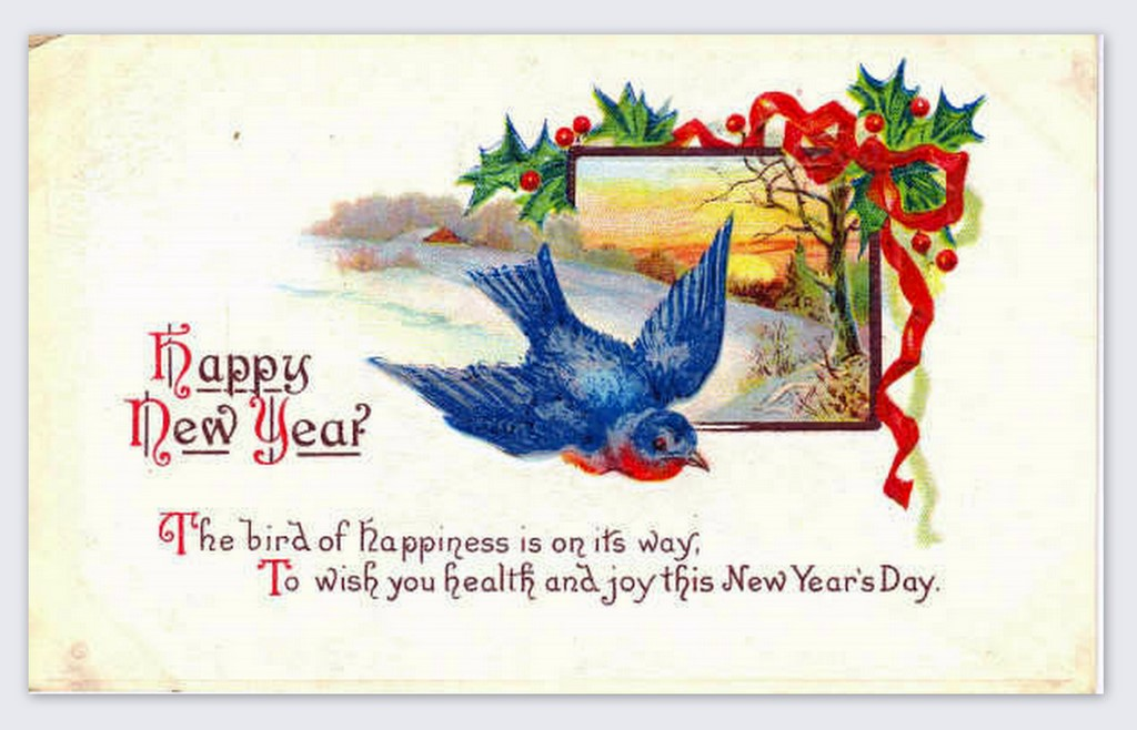 happy new year the bird of happiness is on its way to wish you