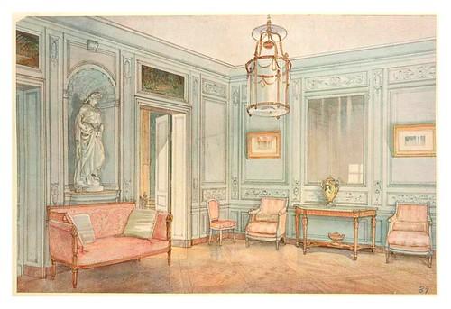007 sala de espera estilo luis xvi acuarela 1907 a for Decoracion de interiores luis xv