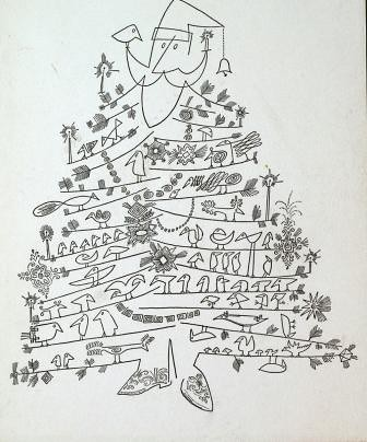 Saul Steinberg, Santa Claus as Christmas Tree, Collection of Tom Bloom