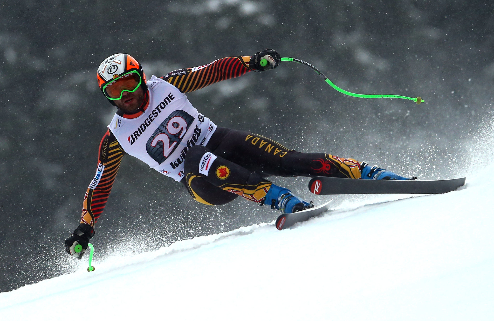 Jan Hudec flies down the mountain in Kvitfjell, NOR during the downhill