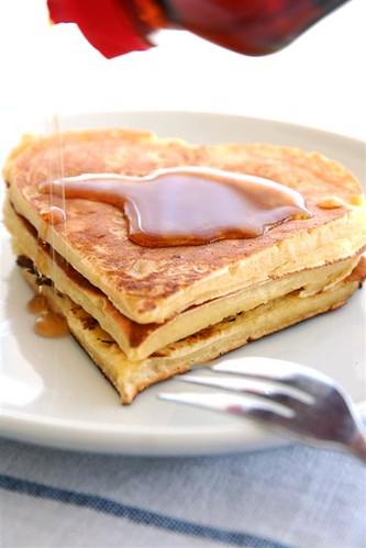 ハート型のパンケーキ
