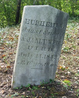 Eupemia Weir- buried in 1853 at the Mapleton Cemetery, South Dorchester, Elgin, Ontario, Canada