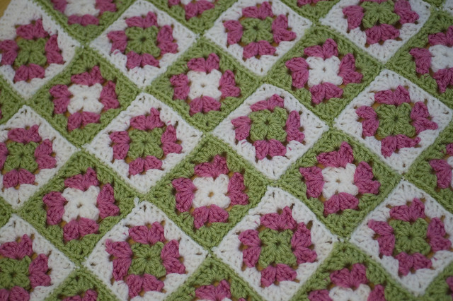 FREE Crocheted Purple Delight Granny Square Afghan Pattern from