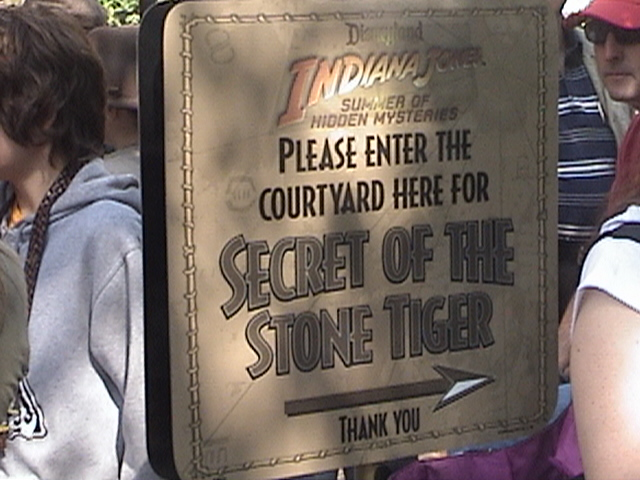 Indiana Jones™ and the Secret of the Stone Tiger Revealed!, sign, Aladdin's Oasis courtyard, Adventureland, Disneyland®, Anaheim, California, 2008.05.26 15:53