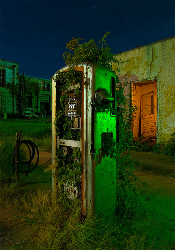 abandoned station night point texas gas pump pilot