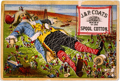 Gulliver and the Liliputans, trade card for J. & P. Coats spool cotton, ca. 1888