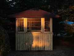landscape lighting, wood, log cabin, gazebo, shed,