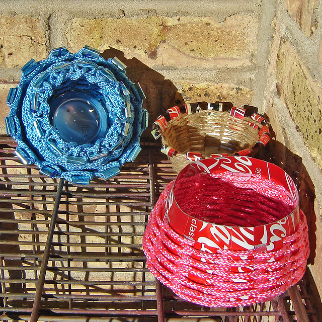 Basket Making Using Recycled Materials : Baskets made from recycled aluminum cans flickr photo