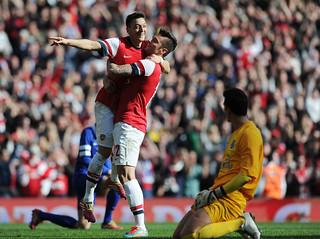 Mesut Ozil and Olivier Giroud of Arsenal