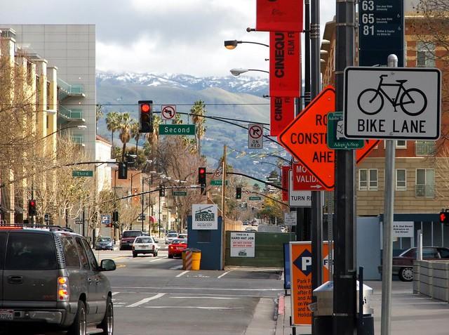 San Fernando Street and snow, San Jose, March 12, 2006