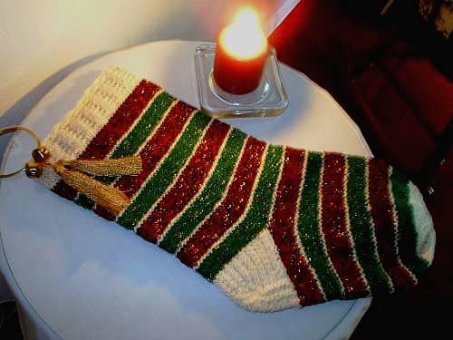 The caffeinated knitter sparkling sleigh bells stocking for Knitted christmas bells