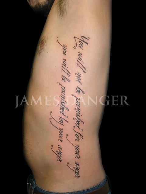 james danger lettering script tattoo side james danger