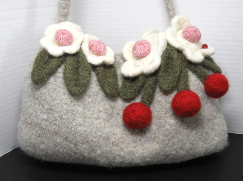 cherry blossom felted purse