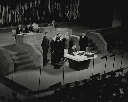 US Secretary of State Dean Acheson signing the Treaty of Peace with Japan, September 8, 1951