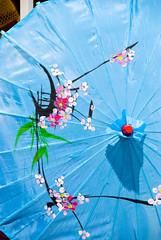 umbrella, flower, blue,