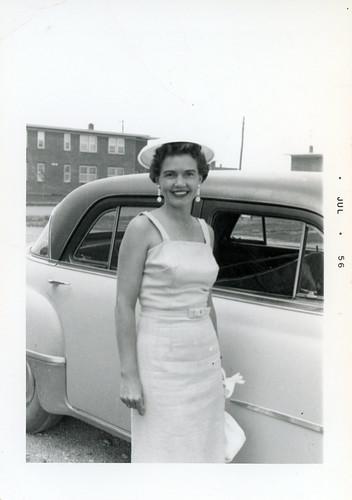 Gloria in white dress 1956