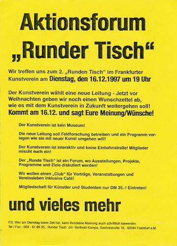 Flyer Aktionsforum Runder Tisch. Frankfurter Kunstverein Dezember 1997