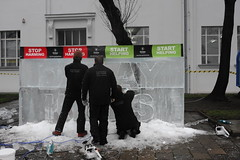 'Delay kills' - Oxfam Ice Sculpture in Poznan