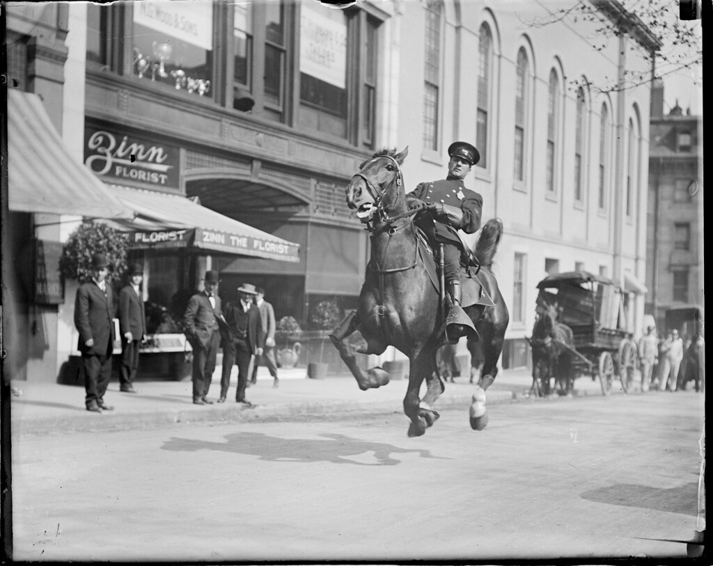 Mounted cop in action on Tremont Street