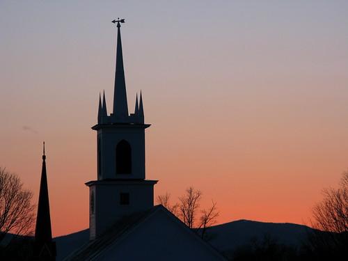 trees sunset mountains silhouette vermont glow sundown wind dusk steeple steeples vt weathervain randolphcenter canong9