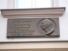 Photo of Bernard Bolzano brass plaque