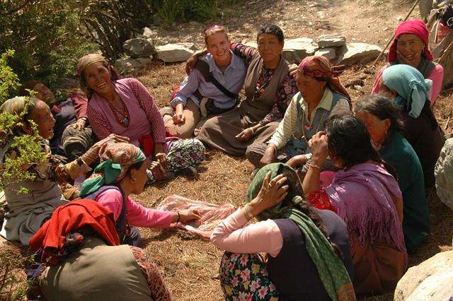 Audrey with Group of Nepali Women - Annapurna Circuit, Nepal