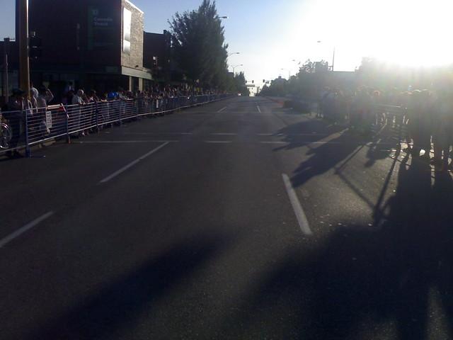 Walking across Hastings during Giro di Burnaby