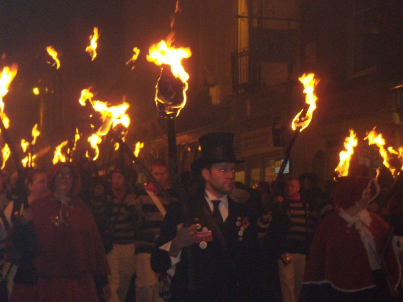 marchers Battle bonfire night. Robertsbridge to Battle walk