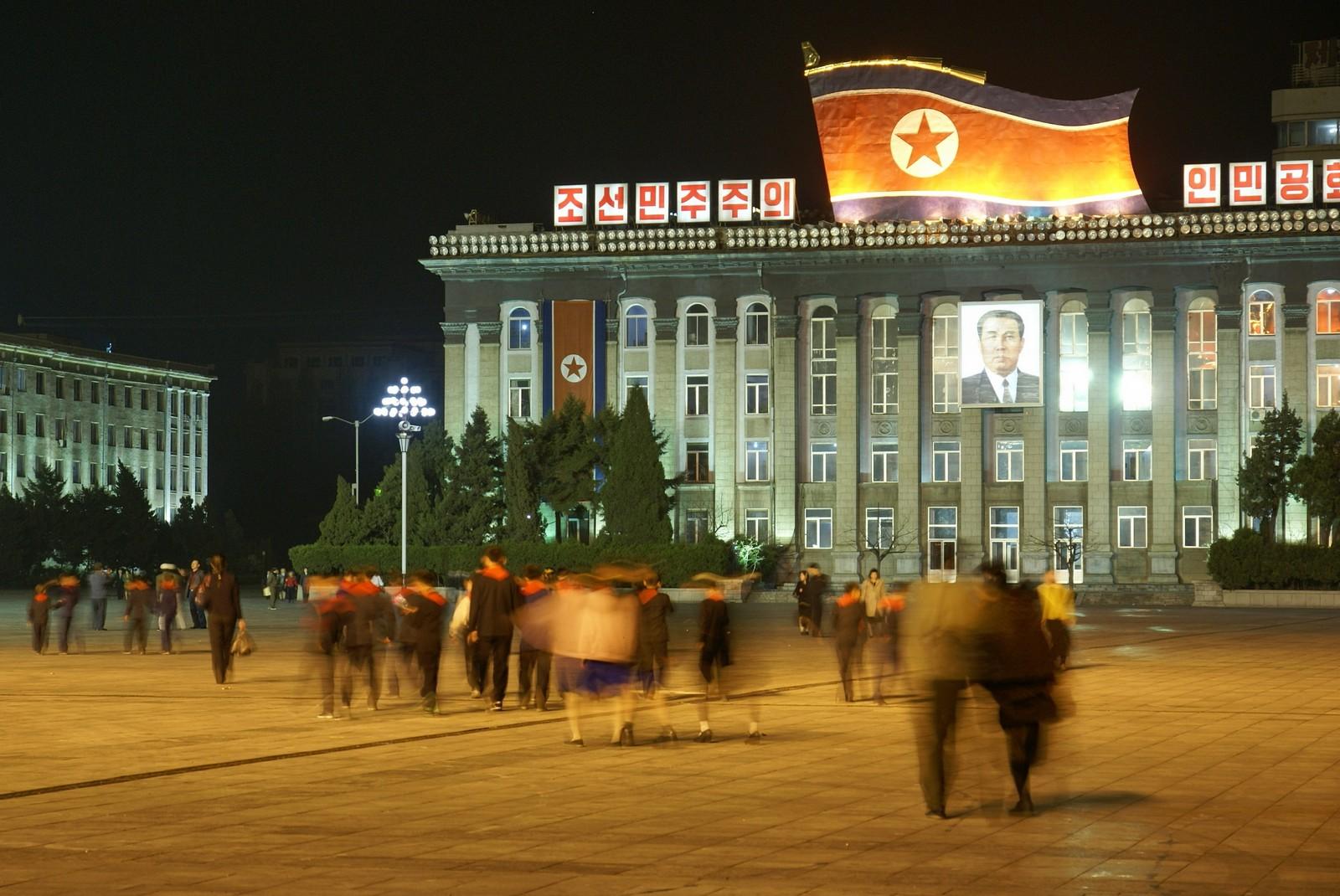 Kim Il Sung Square at night