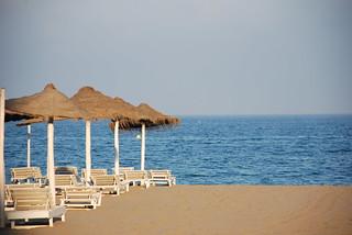 Image of Playa de los Boliches. sea beach atardecer mar andalucía sand agua nikon mediterraneo playa arena dslr 2008 junio fuengirola orilla tumbona sombrila