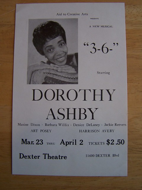 "2250) Dorothy Ashby -1960s Theatrical Flyer for the 1960s African-American play ""3-6-"" produced by ""Aid to Creative Arts"" (aka ""The Ashby Players"") and starring pictured Dorothy Ashby as an actress and performed at the Dexter Theater in Detroit, Michigan."