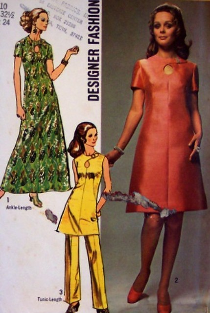 Vintage Simplicity 9014 Designer Fashion Pattern Keyhole Tunic Pants Dinner Dress Evening Dress Long Short Size 10 Bust 32.5 Waist 24 Mod 70's