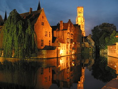 Bruge Is called the Venice of the North and the city centre is a UNESCO World Heritage site.  It was taken about 9pm at night in September with a Canon Powershot G2 (4megapixels).