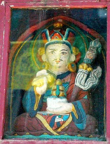 Detail - Padmasambhava statue in a stupa east side, Boudha, Kathmandu, Nepal by Wonderlane