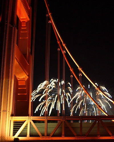 Fireworks through the Golden Gate at DCA