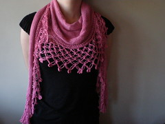 Presence - Pink  Knitted/Crocheted shawl/scarf