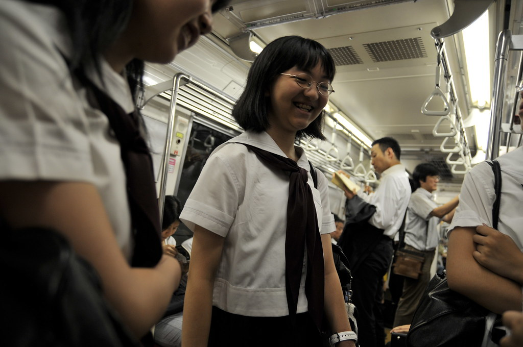Highschool girls in Tokyo's subway