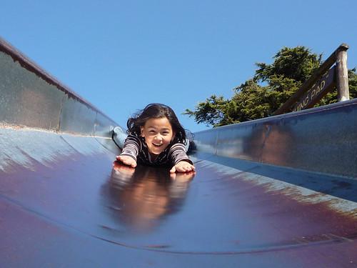 Down the slide!