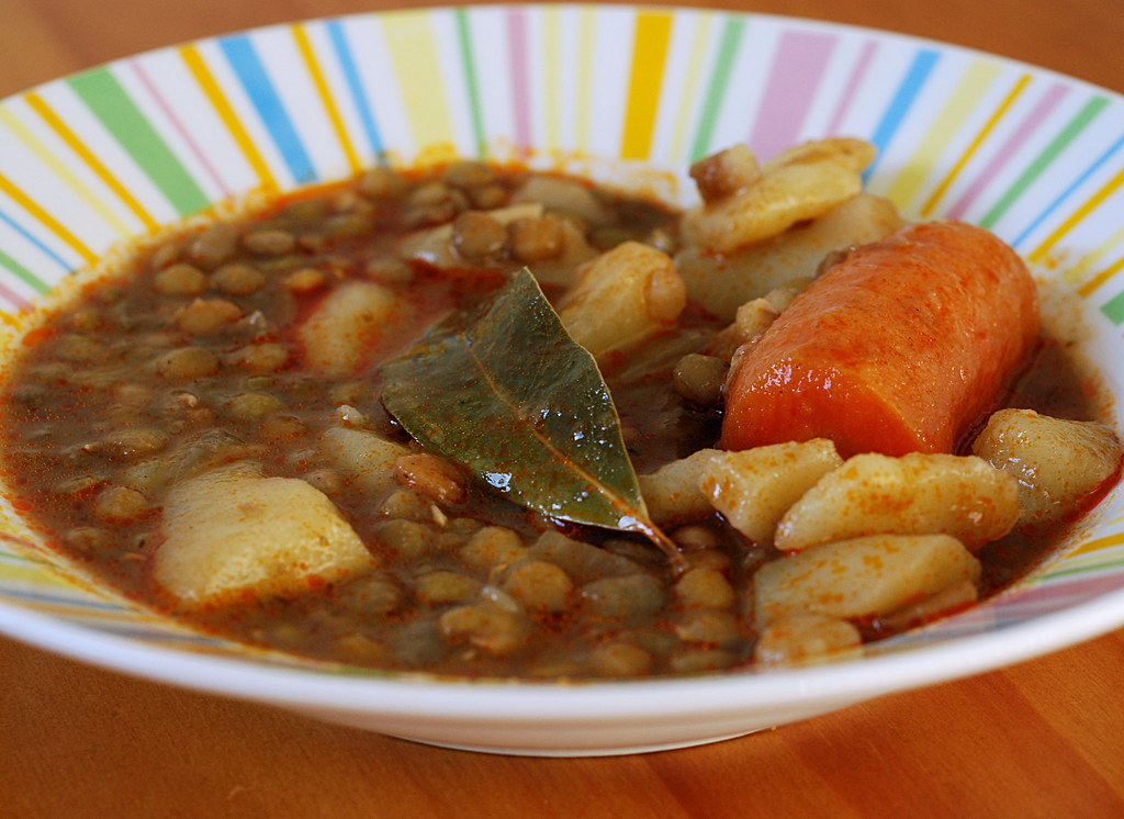 Spanish Lentil Stew With Bay Leaf and Pimenton. Lentejas