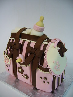 Baby girl diaper bag cake