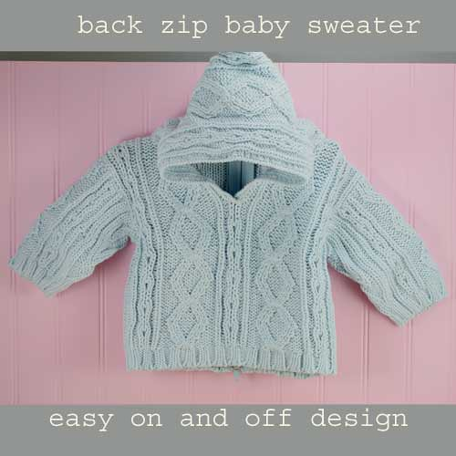 Knitting Pattern For Baby Sweater With Zipper In The Back : Classic Back Zip Hooded Baby Sweater from Purple Mountain - baby blue Flick...