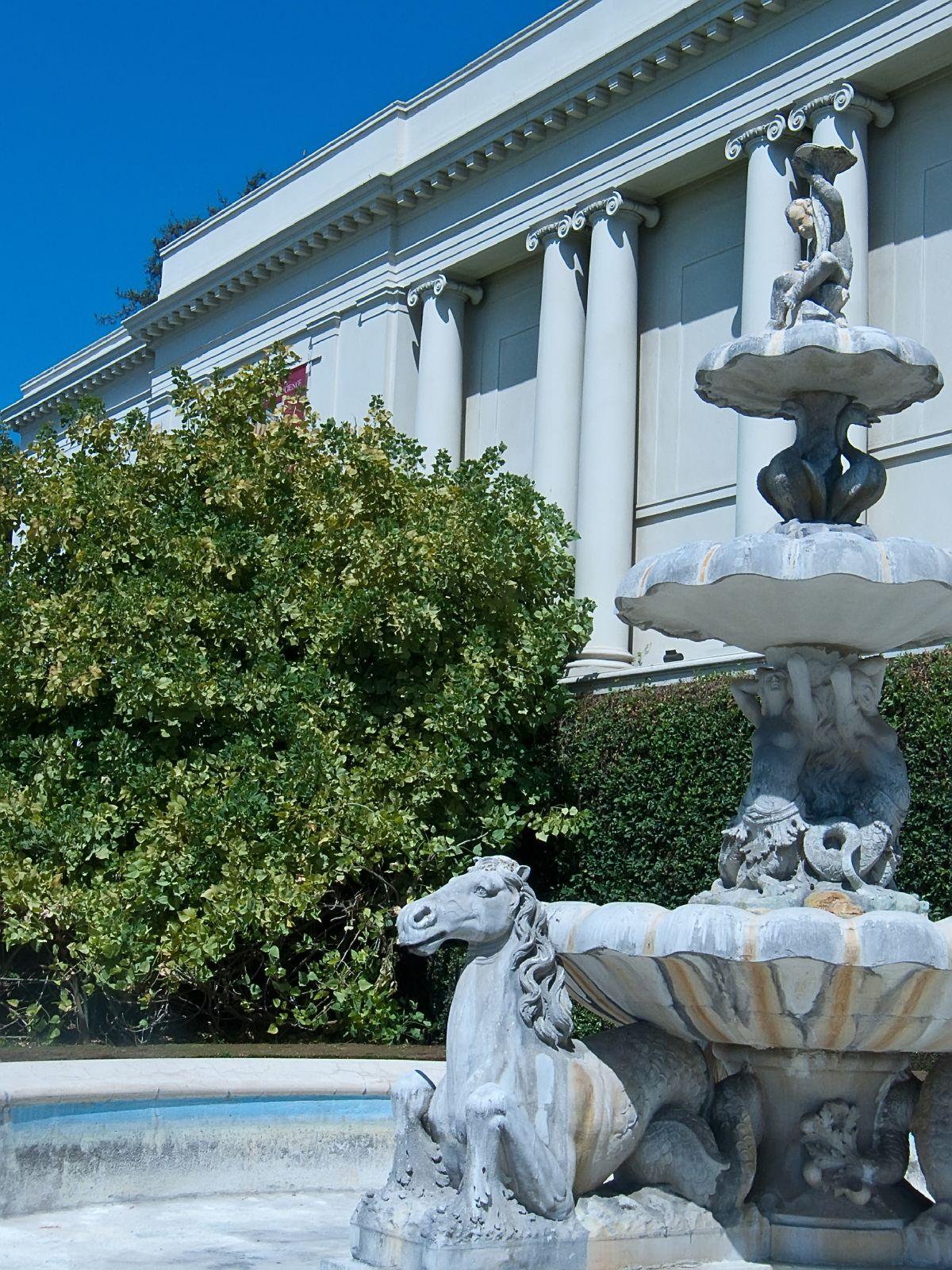 Fountain With Seahorses At Huntington Gardens Pasadena