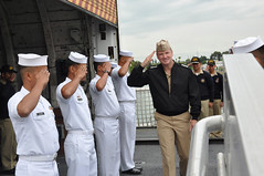 In this June 3, 2011 file photos, Adm. Patrick Walsh, commander of U.S. Pacific Fleet, is greeted by sideboys as he arrives for a visit aboard Philippine Navy ship BRP Gregorio del Pilar (PF 15) in Alameda, Calif. The former Hamilton-class cutter was recently transferred to the Philippine Navy from the U.S. Coast Guard. The new crew is receiving training in Alameda before transiting the ship to the Philippines. (U.S. Coast Guard photo by Petty Officer 3rd Class Caleb Critchfield)