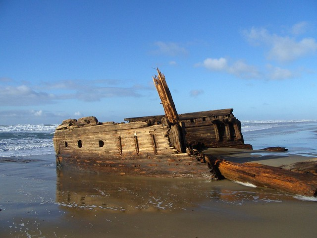 A beached shipwreck