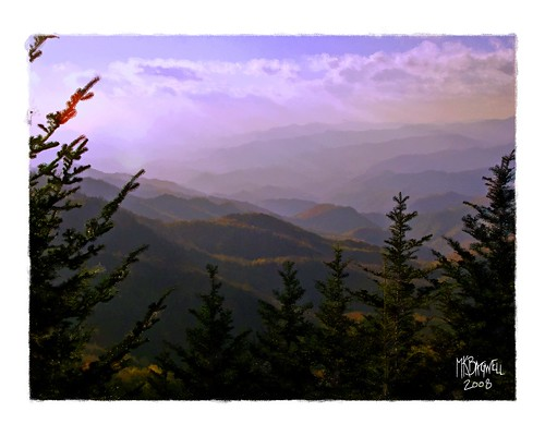 sunset mountains landscape waterfall scenery stream computerart cherokee blueridgemountains lanscape blueridgeparkway smokymountains easttennessee cadescove wnc giclee computerpainting westernnorthcarolina rickettsglenfalls mkbagwell kellybagwell