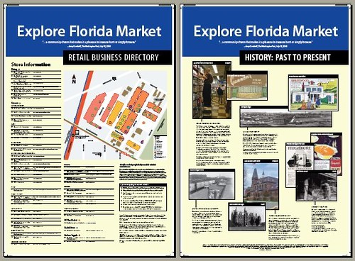 Explore Florida Market directory and history signage