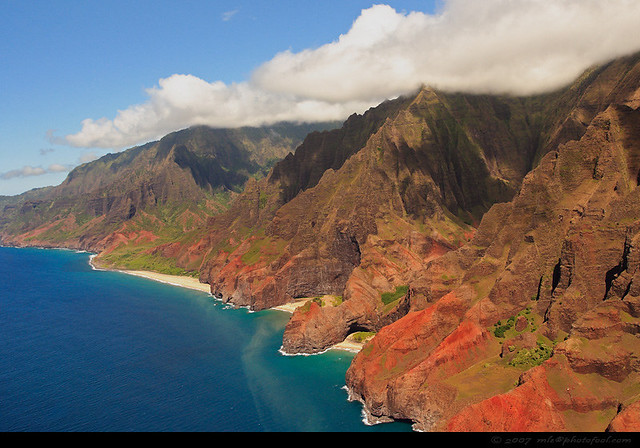 Aerial View of Honopu Arch and the Na Pali Coast