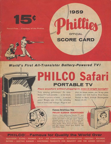 1959 Phillies Official Score Card - Aug 21, 1959 Game 1 of a Doubleheader