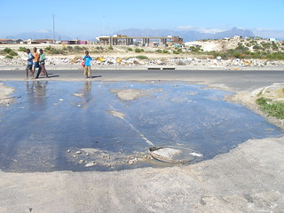 Wastewater in street (informal settlement near Cape Town), South Africa
